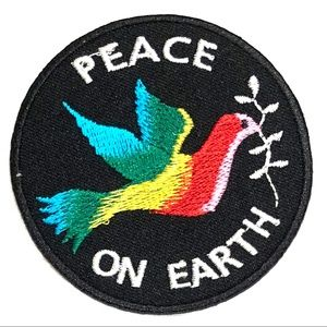 Peace on Earth patch Christmas Dove Hippie Love